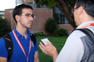 MRSEC Student Leader, Mehrdad Arjmand, during the Student Speed Networking Session