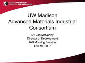 UW Madison Advanced Materials Industrial Consortium